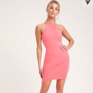 Lulus Ruched Bodycon Halter Dress